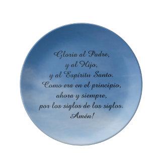 Plate De Cerámica, oration of Glory in Spanish