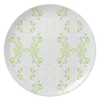 Plate green floral decoration