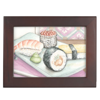 Plate of Assorted Sushi with Chopsticks Keepsake Box