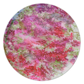 Plate-red/magenta flowers w/green leaves-retro plate