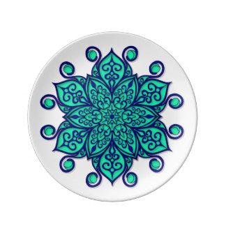 Plate with cyan Mandala