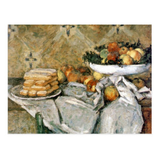 Plate with fruits and sponger fingers - Cézanne Postcard