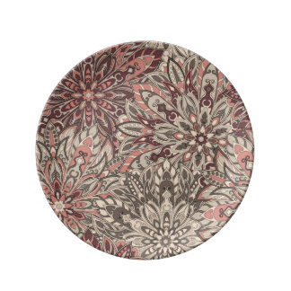 Plate with Mandala Floral Pattern Print