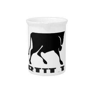 Platform bull in black pitcher