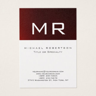 Platinum Monogram Red Striped Clean Business Card