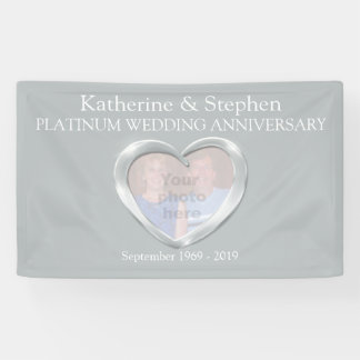 Platinum Wedding anniversary heart photo banner