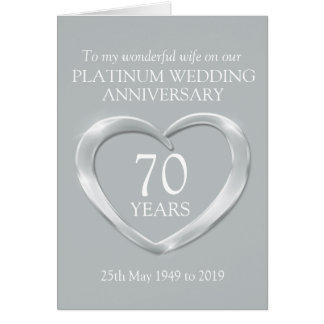 Platinum wedding anniversary wife card