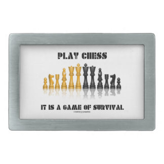 Play Chess It Is A Game Of Survival (Chess Set) Rectangular Belt Buckles