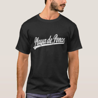 Playa de Ponce script logo in white distressed T-Shirt