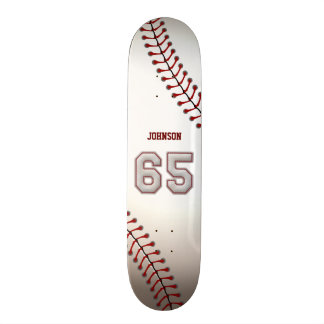 Player Number 65 - Cool Baseball Stitches Skate Board