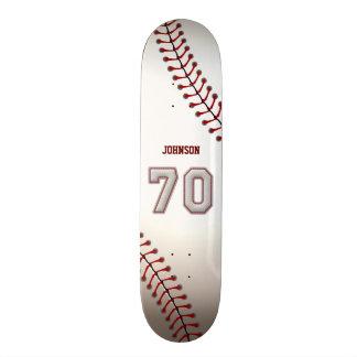 Player Number 70 - Cool Baseball Stitches Custom Skate Board