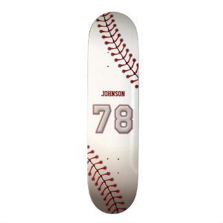 Player Number 78 - Cool Baseball Stitches Custom Skate Board
