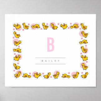 Playful Baby Ducks Pink Monogram Nursery Wall Art Poster