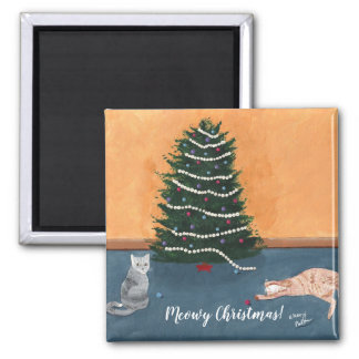 Playful Cats by Christmas Tree Magnets