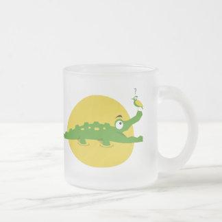 Playful Crocodile Frosted Glass Mug