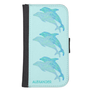 Playful Dolphins Aquatic Custom Phone Accessories Samsung S4 Wallet Case