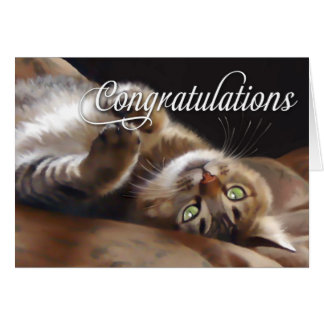 Playful Kitty Congratulations Blank Card