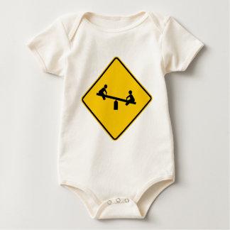 Playground Area Highway Sign Baby Bodysuit
