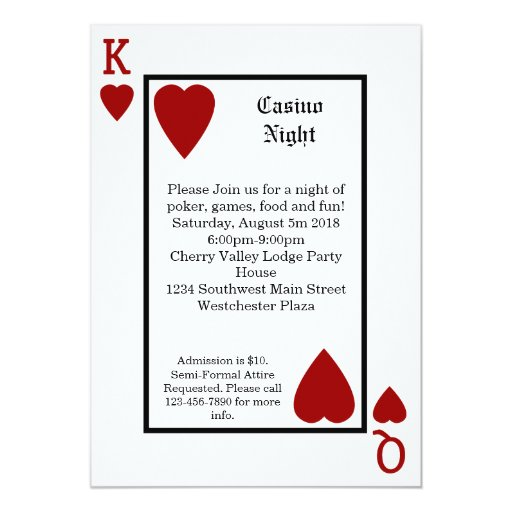 Playing Card King/Queen Personalised Invitations