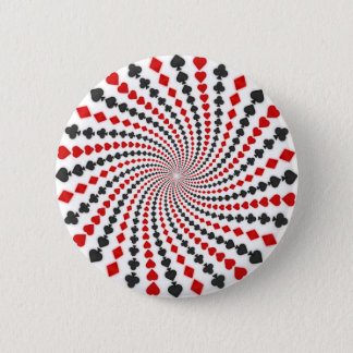 Playing Card Suits Spiral: 6 Cm Round Badge