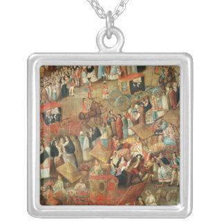 Plaza Mayor in Mexico, detail of carriages Silver Plated Necklace