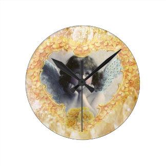 Pleasance - Angel in a Yellow Heart Round Clock