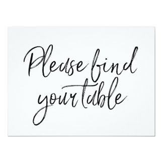 """""""Please find your table"""" Stylish Lettered Sign Card"""