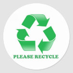 Please Recycle. Recycling Awareness. Go Green. Round Sticker