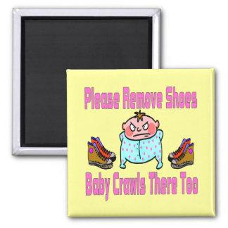 Please Remove Shoes, Baby Crawls Fridge Magnet