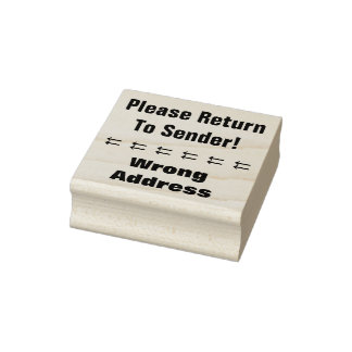 """Please Return To Sender!"", ""Wrong Address"" Rubber Stamp"