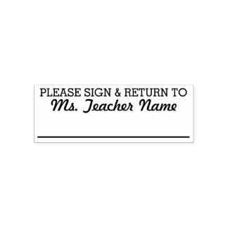Please Sign and Return - Custom Teacher Name Line Self-inking Stamp