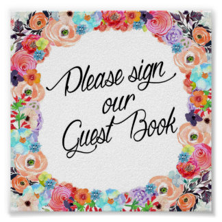Please Sign Our Guest Book Floral Printout