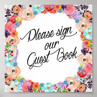 Please Sign Our Guest Book Floral Printout Poster