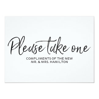 """Please take one"" Wedding Favours Lettered Sign Card"