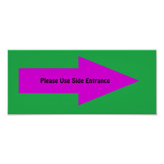 'Please Use Side Entrance' Sign. Customizable Poster