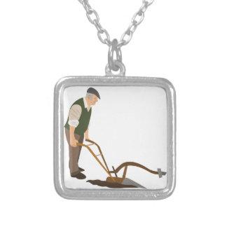 Plough And Farmer Square Pendant Necklace