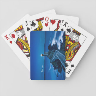 Plouzane, France, Lighthouse at night Playing Cards