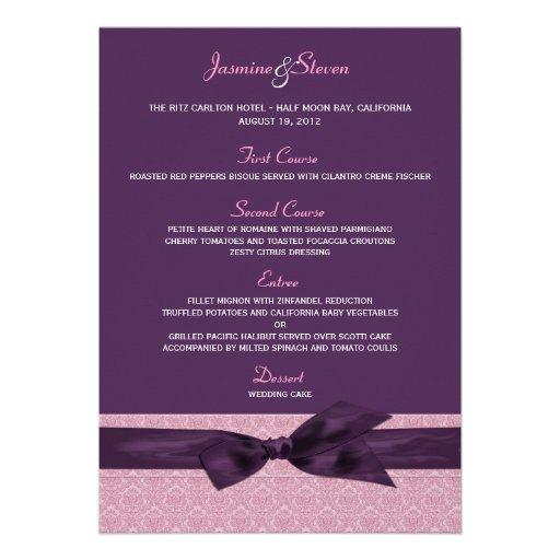 Plum and Amethyst Damask Wedding Menu 5x7 Custom Invites