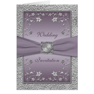 Plum and Pewter Card Style Wedding Invitation