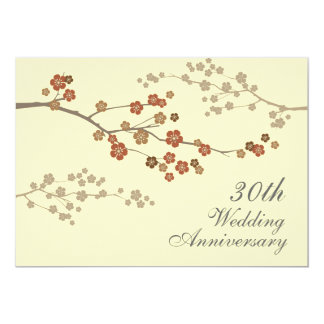 Plum Blossom Wedding Anniversary Party Invitation