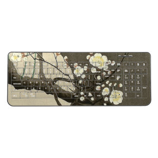 Plum Blossoms at Night by Ohara Koson Elegant Wireless Keyboard