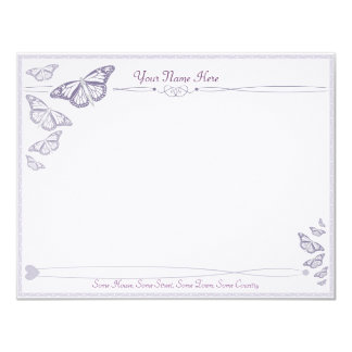 Plum Butterfly Correspondence Cards