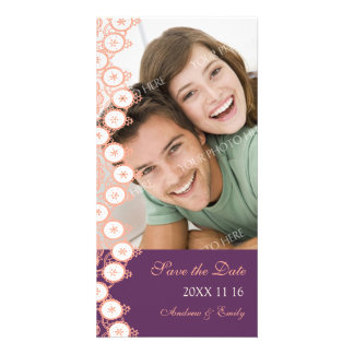 Plum Coral Save the Date Wedding Photo Cards