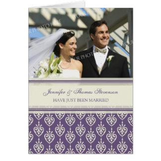 Plum Cream Just Married Photo Announcement Card