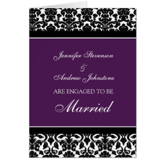 Plum Damask Engagement Announcement Card