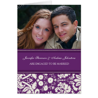 Plum Damask Engagement Photo Announcement Card
