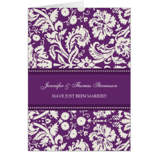 Plum Damask Just Married Announcement Card