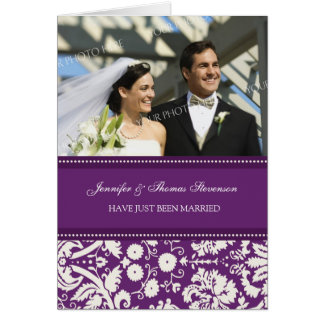 Plum Damask Just Married Photo Announcement Card
