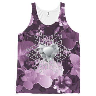 Plum Floral Diamond Heart Snowflake All-Over Print Singlet