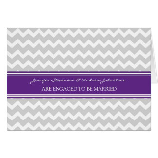 Plum Gray Chevrons Engagement Announcement Card